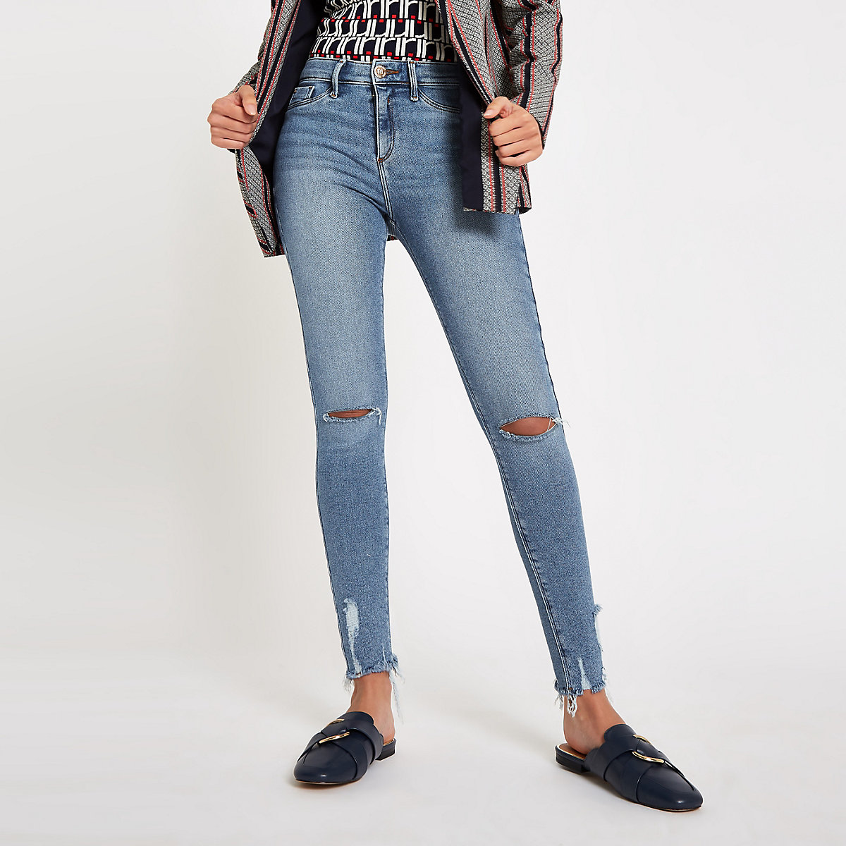 Light blue Molly ripped knee jeggings
