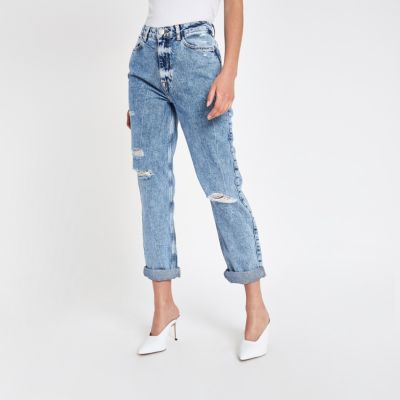 Mid Blue Mom Ripped Jeans by River Island