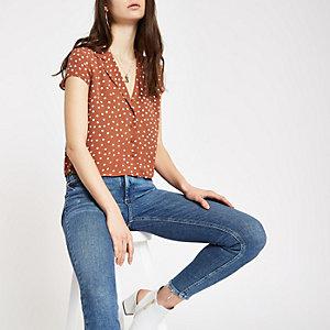 Brown polka dot crop shirt