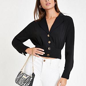 Schwarze Hemdjacke mit Knopfverschluss