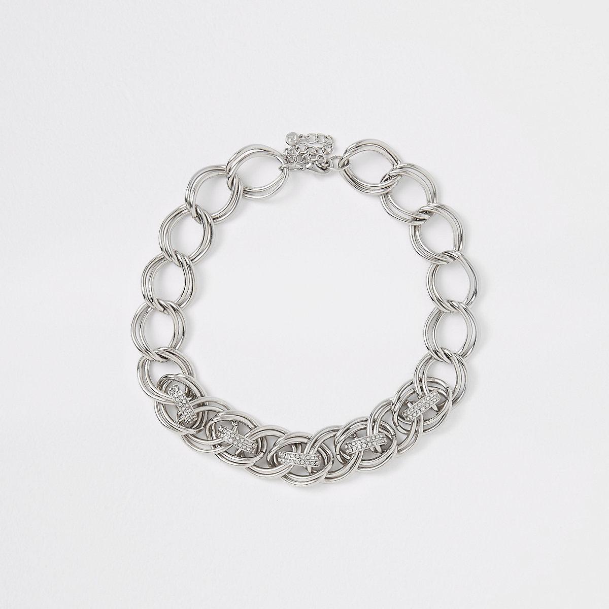 Silver colour diamante pave link necklace