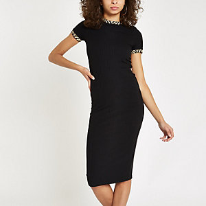 Black leopard print trim midi dress
