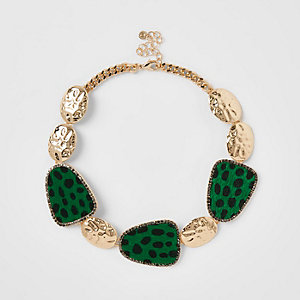 Green leopard print statement necklace