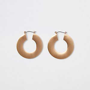 Gold colour matte flat hoop earrings