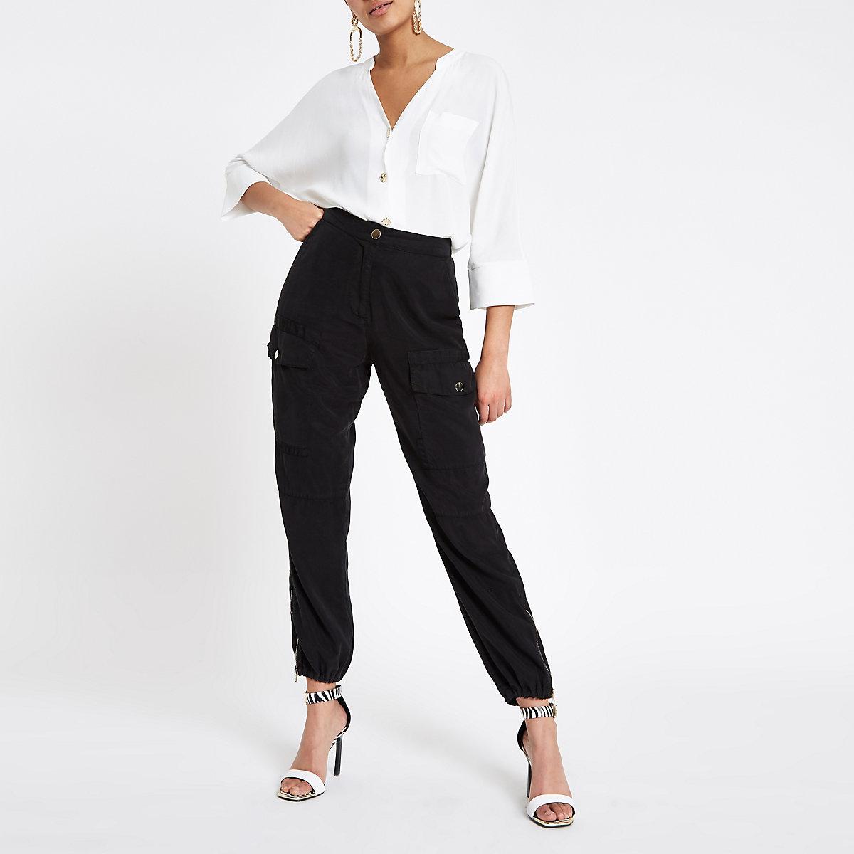 White button up v neck blouse