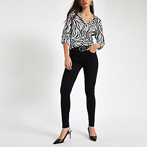 White zebra print oversized shirt