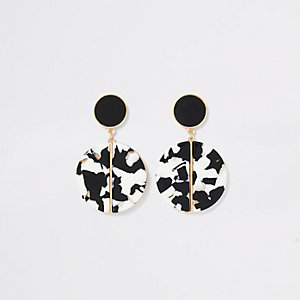 Black mono resin drop earrings