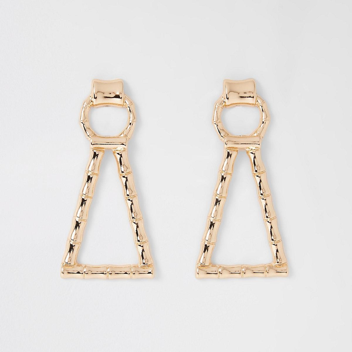 Gold colour bamboo drop earrings