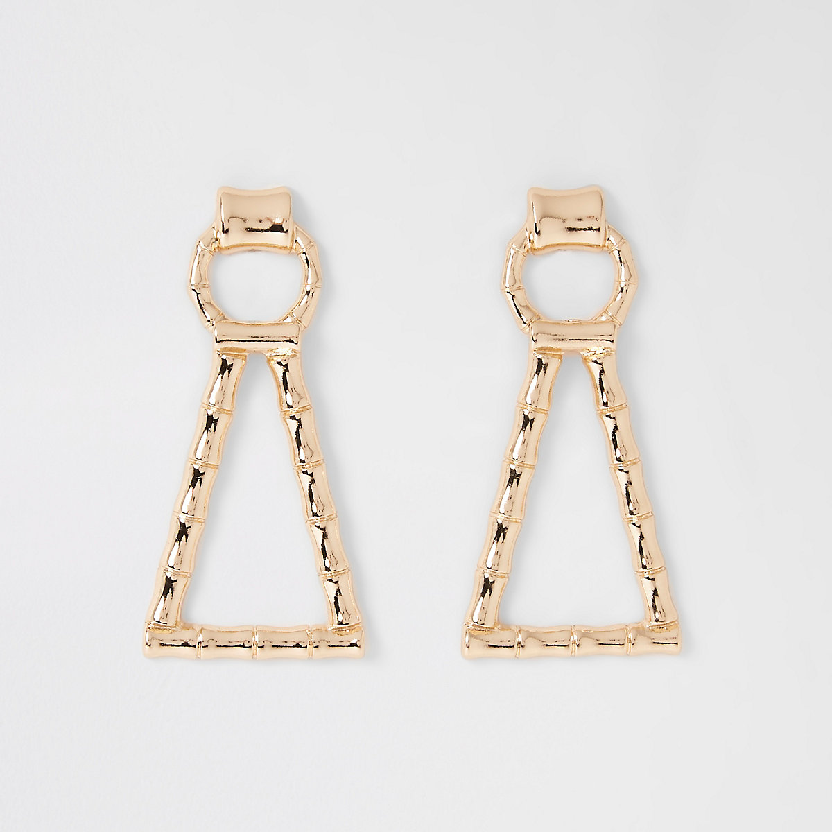 Gold color bamboo drop earrings