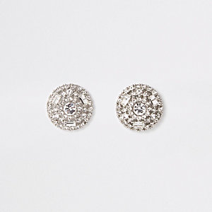 Silver color round rhinestone stud earrings