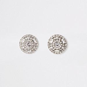 Zilverkleurige ronde oorknopjes met diamantjes