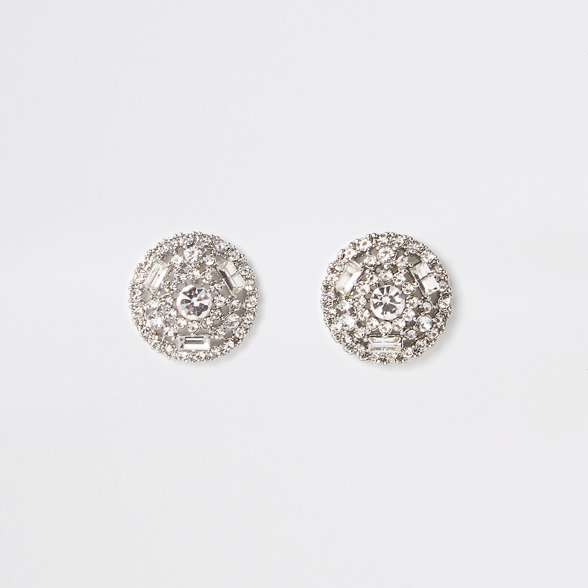 Silver color round rhinestone stud earrings