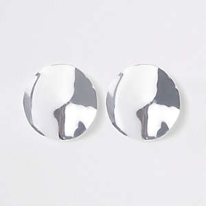 Silver colour hammered disc stud earrings