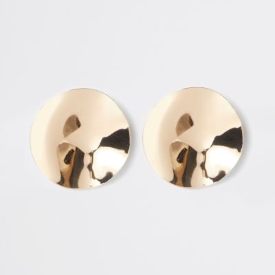 Gold Colour Hammered Disc Stud Earrings by River Island