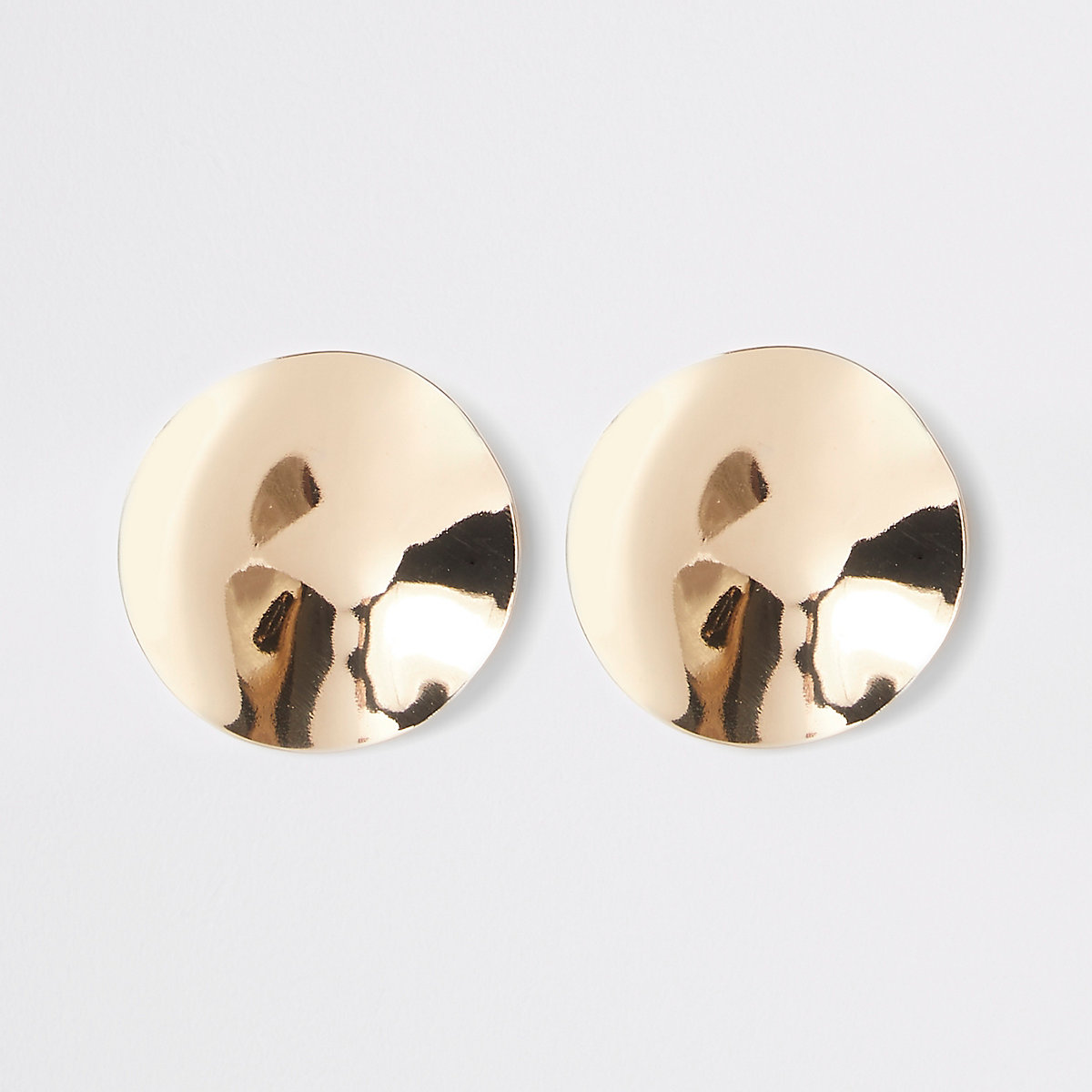 Gold colour hammered disc stud earrings