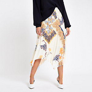 White floral print pleated midi skirt