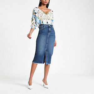 Middenblauwe denim midirok