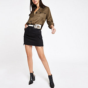Black utility mini denim skirt