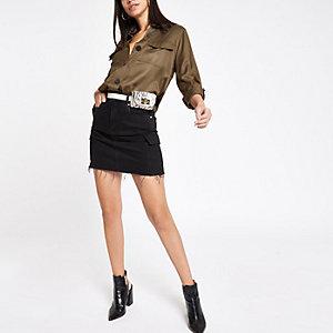 Mini-jupe fonctionnelle en denim noire