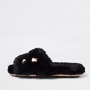 Black faux fur embellished mules