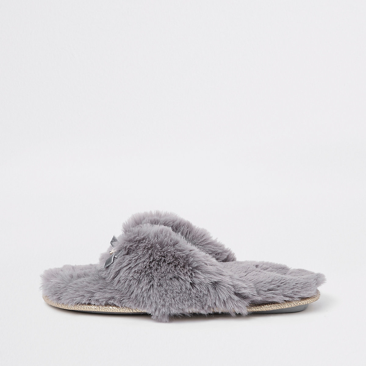 Grey faux fur flip flop slippers