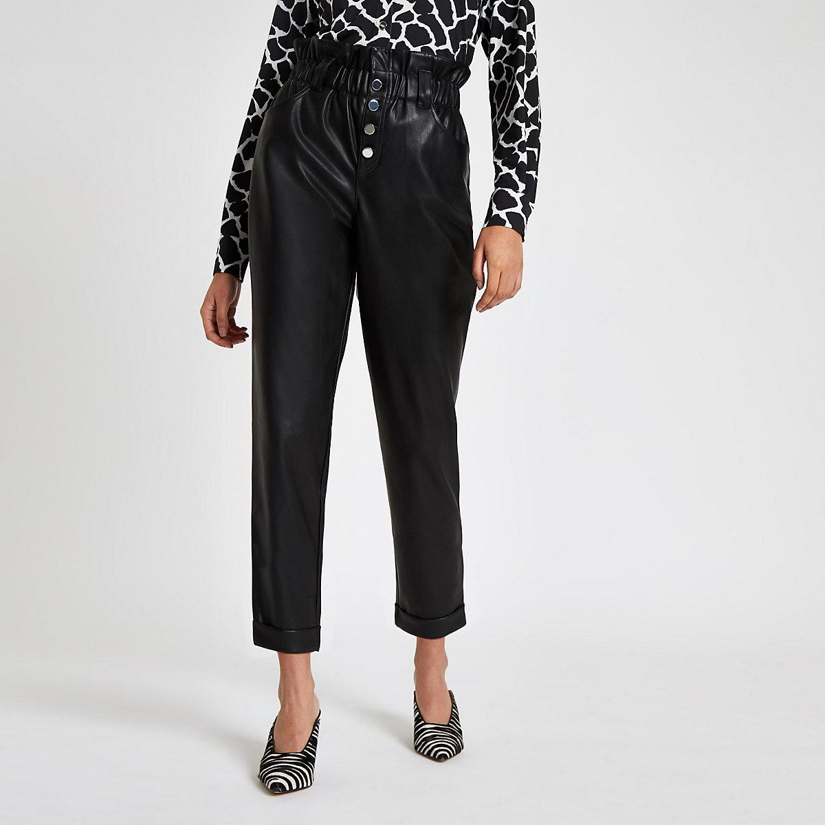 Black faux leather paperbag button pants