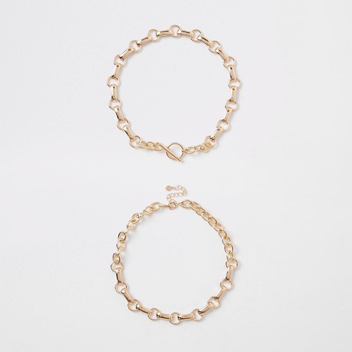 Gold color chain link T bar necklace