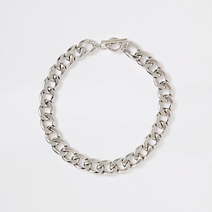 Silver color chunky curb chain necklace