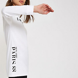 White 'L'amour couture' long sleeve top