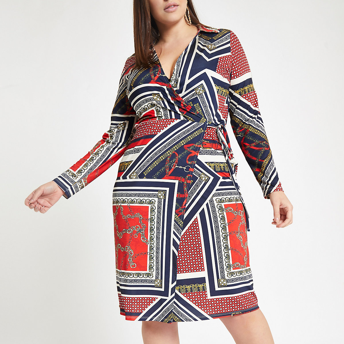 Plus red sloane print wrap dress