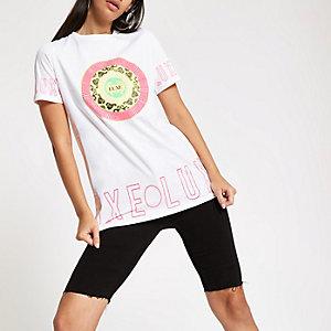 T-shirt boyfriend à imprimé « Luxe » blanc