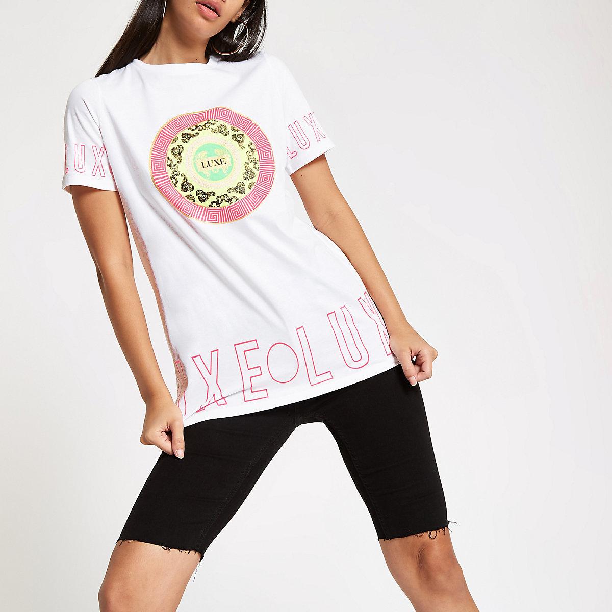 White 'luxe' print boyfriend T-shirt