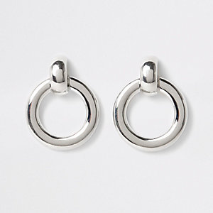 Silver color door knocker hoop earrings