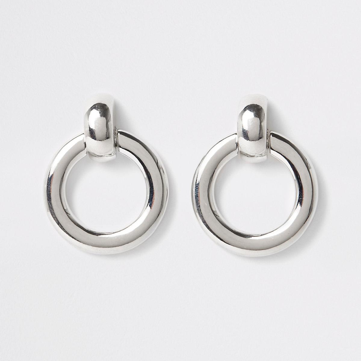 Silver color door knocker hoop earrings