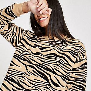 Beige zebra print sweatshirt