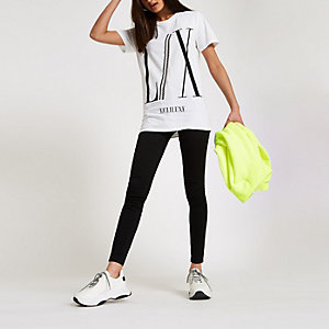 White 'LX' diamante trim boyfriend T-shirt