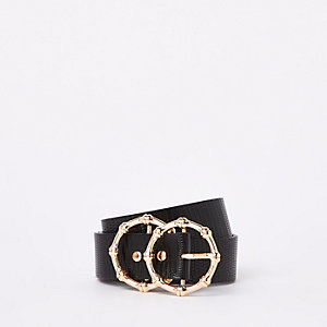 Black faux leather textured ring belt
