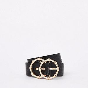 Zwarte riem van imitatieleer met textuur en ring