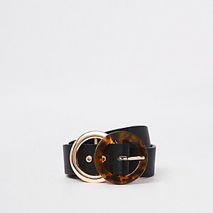 Zwarte tortoise riem van imitatieleer met ring