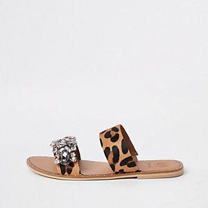 Brown leather leopard print gem flat mules