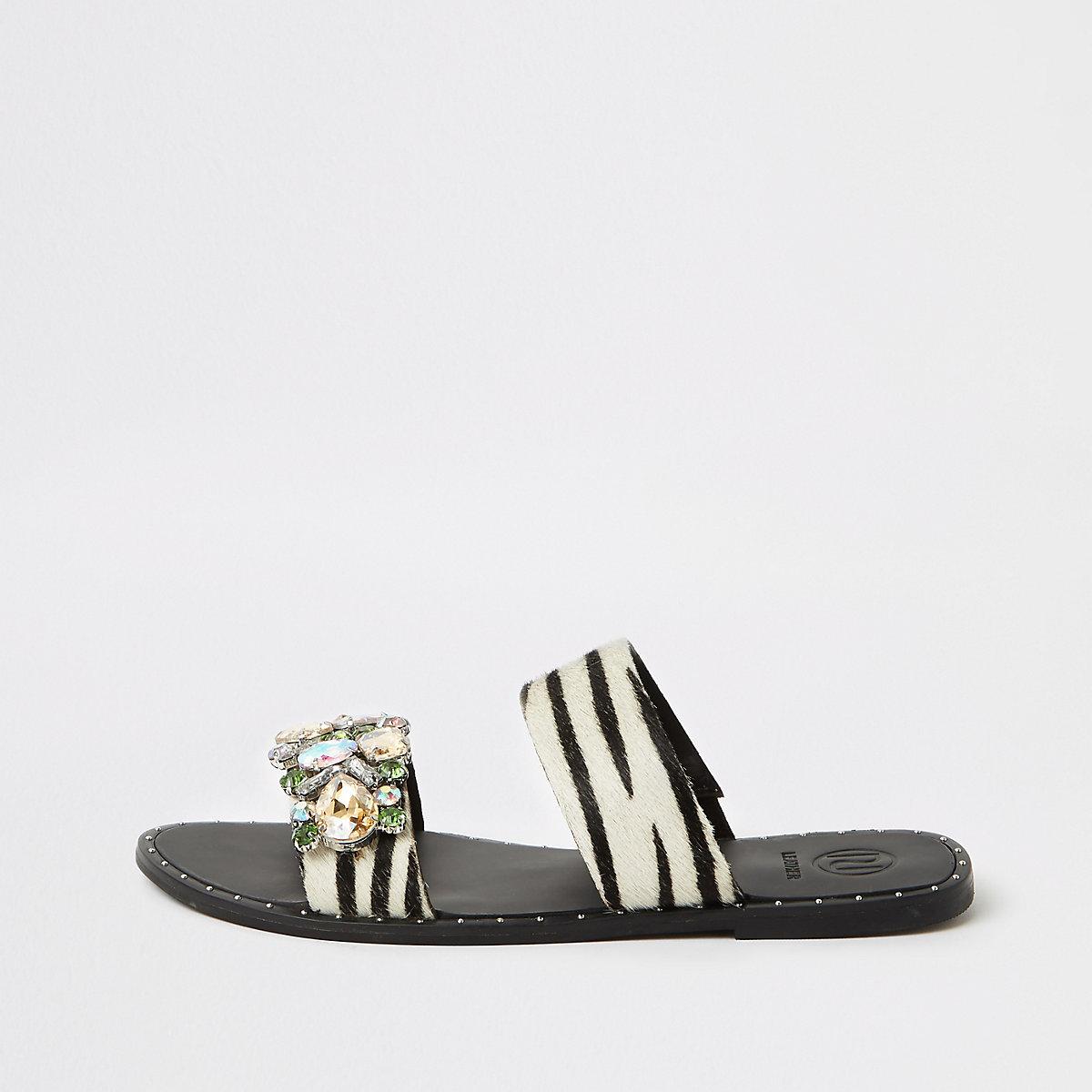 Black leather zebra print gem flat mules