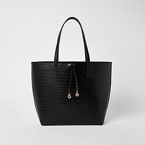 Black croc embossed beach bag