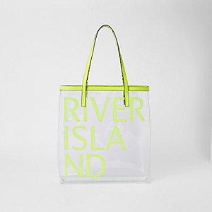 Neon green perspex RI beach bag