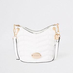 White large cross body bucket bag
