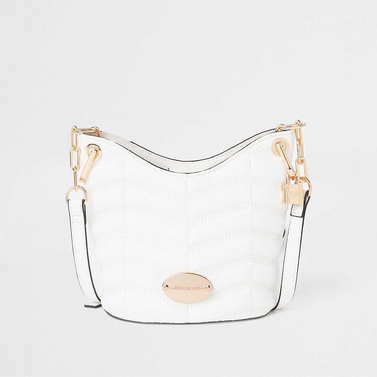 White large cross body bucket bag