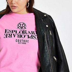 RI Plus - Roze T-shirt met 'Esplorare'-vlokprint