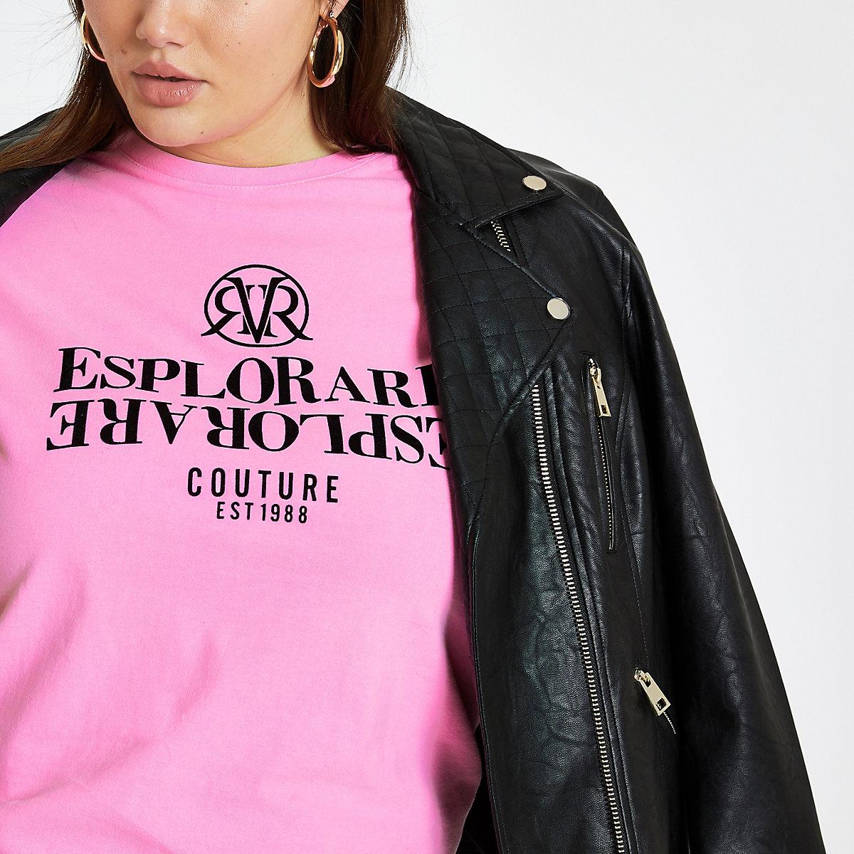 Plus pink 'Esplorare' flock print T-shirt
