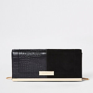 Black faux suede croc embossed clutch bag