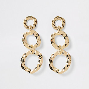 Gold colour battered triple drop earrings