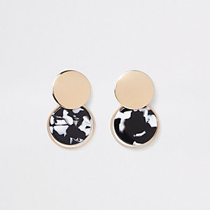 Black mono print circle drop earrings